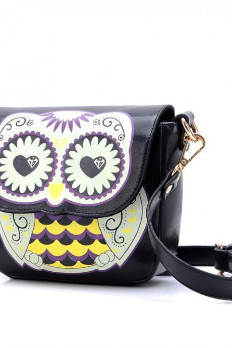 Ulass Cute Owl Floral Print Cartoon Shoulder Bag BB-50