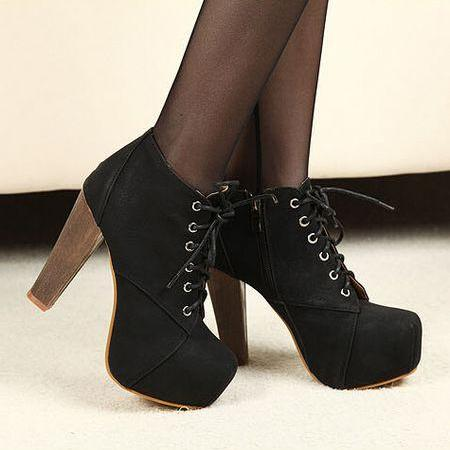 Ulass Black Lace up Suede High Heel Boots ST-078