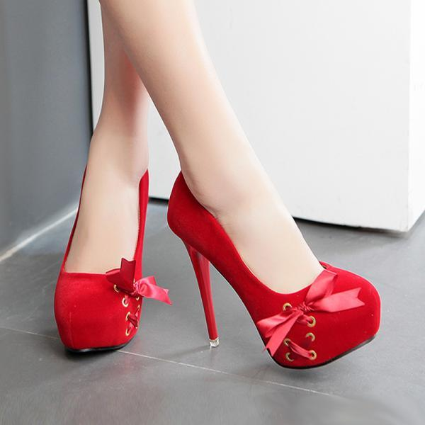 Ulass Pink Bow Knot Design High Heels Platform Pumps ST-113