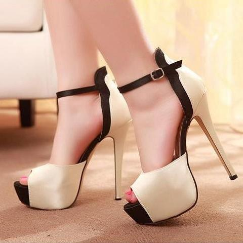 Ulass Classy Peep toe Ankle Strap High Heel Fashion Sandals ST-114