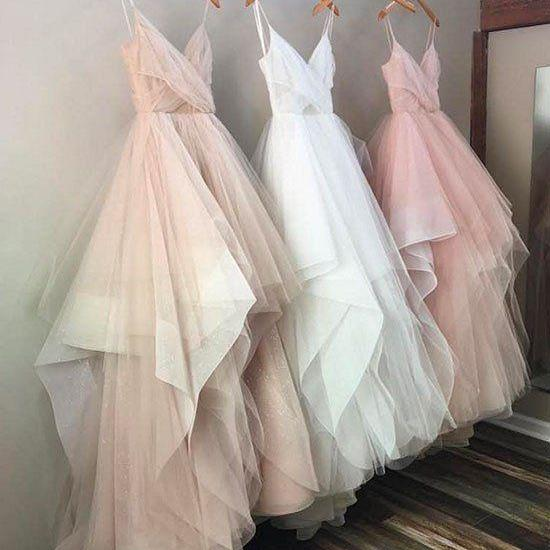 A Line Tulle Evening Prom dresses, Custom Long Party Prom Dresses, Simple prom dresses, 2017 Prom Dresses