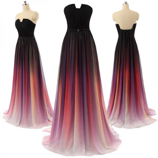 Gradient Ombre Maxi Chiffon Long Formal Prom Dress, Cocktail Dress, Ball Gown