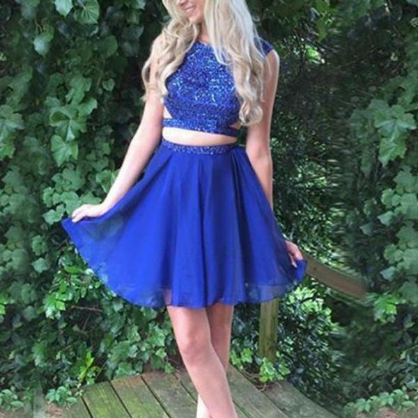Short Homecoming Dress, Royal Blue Prom Dress, Beaded Prom Gowns, 2018 Prom Dress
