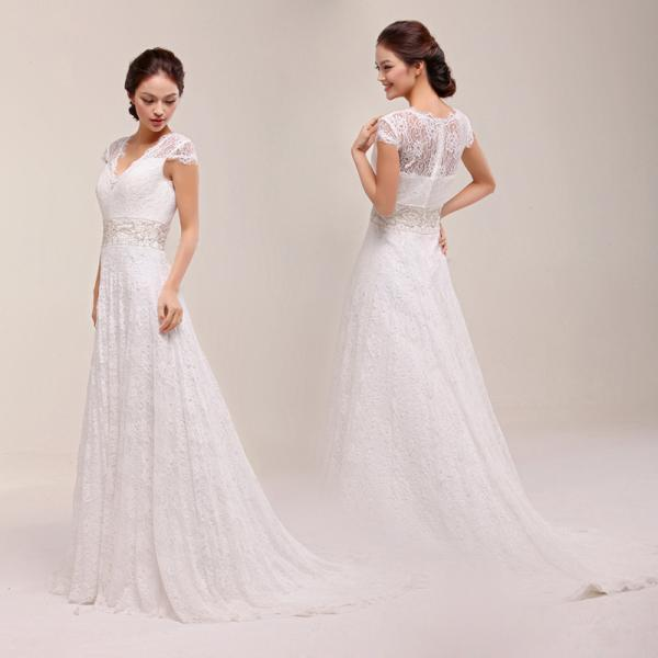 Classic lace half sleeve wedding dress without wedding for Wedding dresses without sleeves