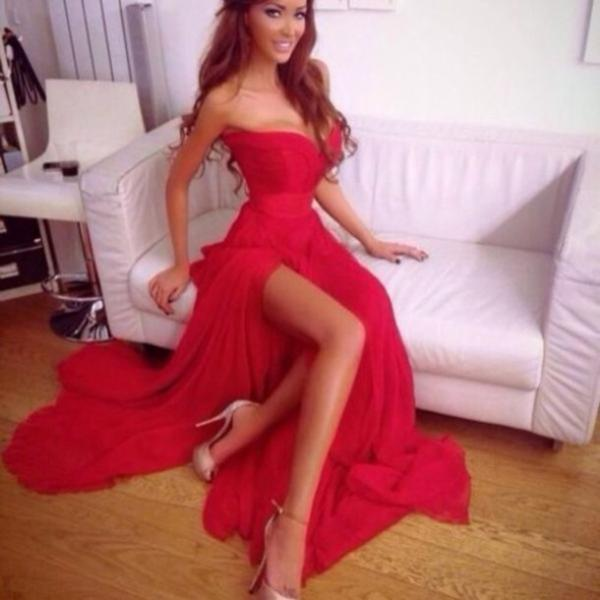 Ulass Custom Made Sweetheart Neck Red Long Prom Dresses, Red ...