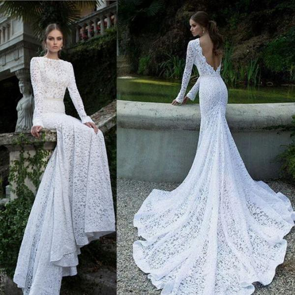 Ulass Charming Sheath Deep V-Neck Wedding Dress,Prom Dress For Prom,See Through Appliques Lace Prom Dress,Long Sleeve Prom Dress,Dresses For Prom,
