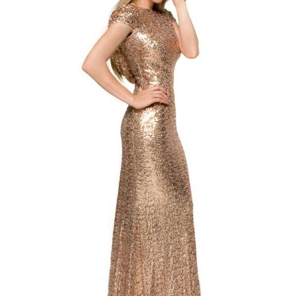 Ulass Sequins Bridesmaid Dresses Gold Capped Sleeves Sweep Train Sexy Backless Prom Dresses