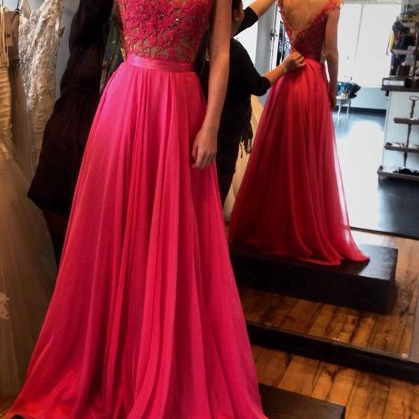 Ulass Hot-Selling Red A-Line Floor Length Sash Backless Scoop Chiffon Prom Dress with Lace