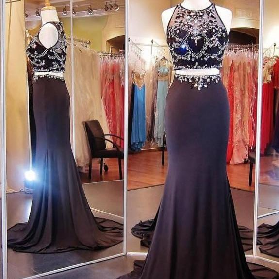Ulass Honorable Prom Dress/Evening Dress - Black Mermaid Two Piece with Rhinestone