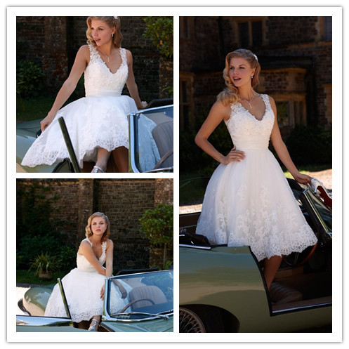 Ulass New Arrival 2015 Lace White Short Wedding Dresses V-Neck Sleeveless Backless Mid-Calf 2016 Applique A-line Bridal Dresses Gown