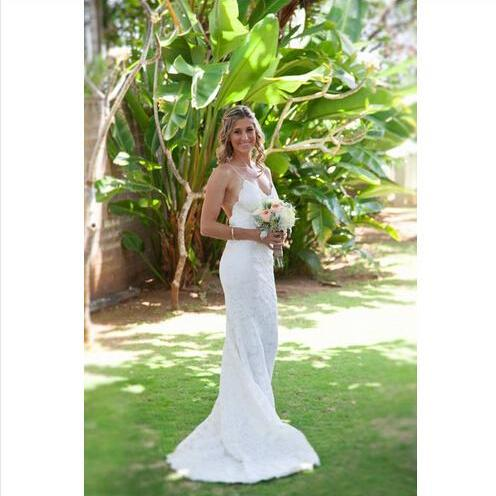 Ulass New Hot Sales Sweep Train Spaghetti Strap Backless Lace Mermaid Wedding Dresses