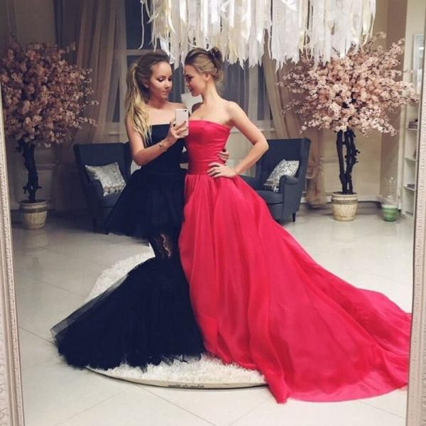 Ulass Custom Made Red Strapless Sleeveless With Zip Back Court Train Elegant Formal Evening Gown 2016 New