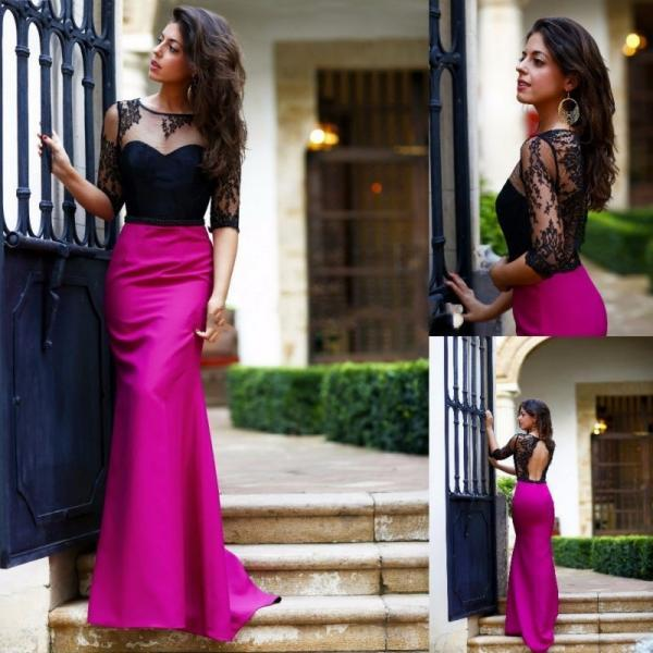 Ulass 2016 Hot Pink Prom Dresses Long Mermaid Black Half Sleeve Lace Black Bodice Sexy Open Back