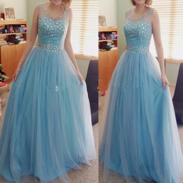 Ulass Light Blue Prom Dresses Long 2016 New Style Crystal Beaded Bodice Tulle Fashion Dress