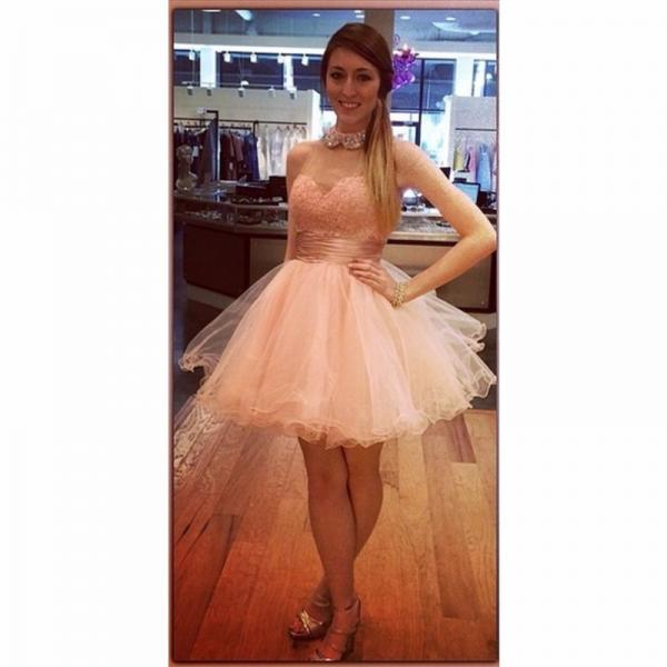 Ulass Light Pink Prom Dress Puffy Short 2016 Newest Ball Gown Graduation Party Gowns Illusion Sweetheart Necline