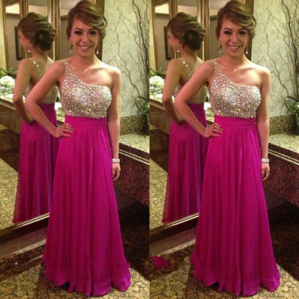 Ulass New Design Fuchsia Prom Dresses One Shoulder Crystal Beading Bodice Long Chiffon Elegant Party Gowns