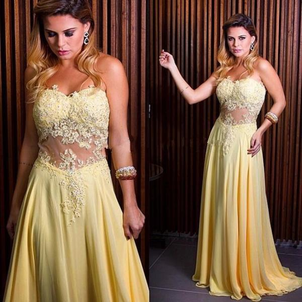 Ulass Simple Long Chiffon Prom Dresses 2016 New Fashion Sweetheart Lace Appliques Cheap Prom Gowns