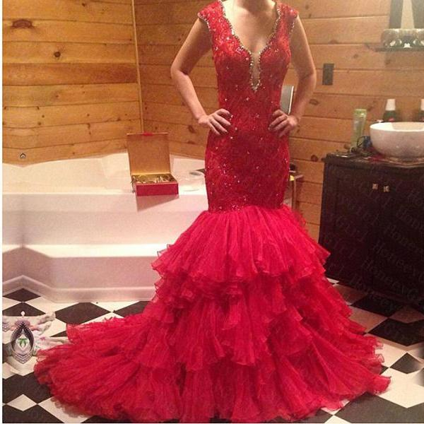 Ulass 2016 Hot Sale Sheath Lace and Beading Tulle Prom Dresses