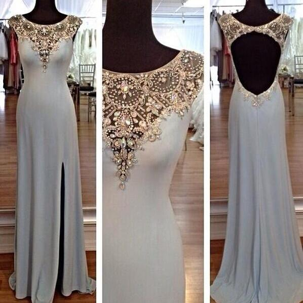 Ulass V-Neck Prom Dresses Beaded Floor Length Prom Dress 2016 Second Killed Chiffon Party Gown Purple Sheer Straps Evening Gowns