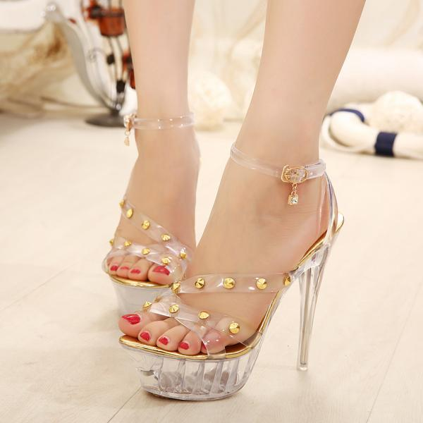 Ulass Gold Silver Sexy catwalk crystal clear high-heeled sandals waterproof nightclub