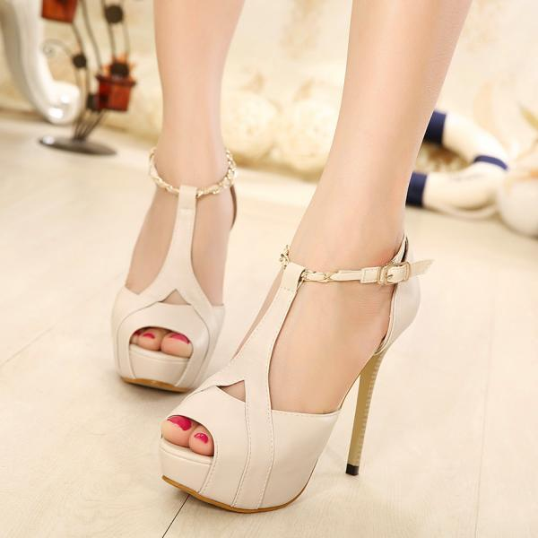 Ulass Black Pink Apricot High with fine with T-strap ( instep ) T- type buckle Roman style fish head sandals