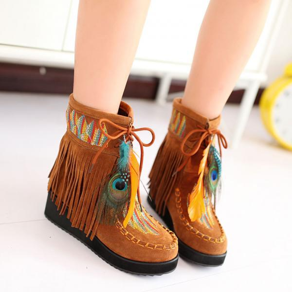 UlassIndian Style Retro Fringe Boots Flock Chunky Feather Women Ankle Short Boots Tassels Big Size Shoes Plus Size 34-43 AA555 ST-005