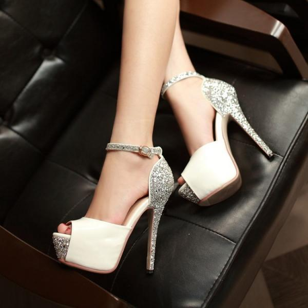 Ulass Glittering Sexy High Heels Platform Shoes Pumps Women's Dress Fashion Wedding shoes lady Pumps ST-045