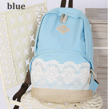 UlassFashion Sky Blue Lace Canvas Backpack-BB-8